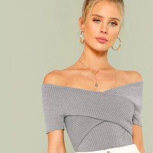 ‫ BRAND: SHEIN | Cross Over Bardot Ribbed Top